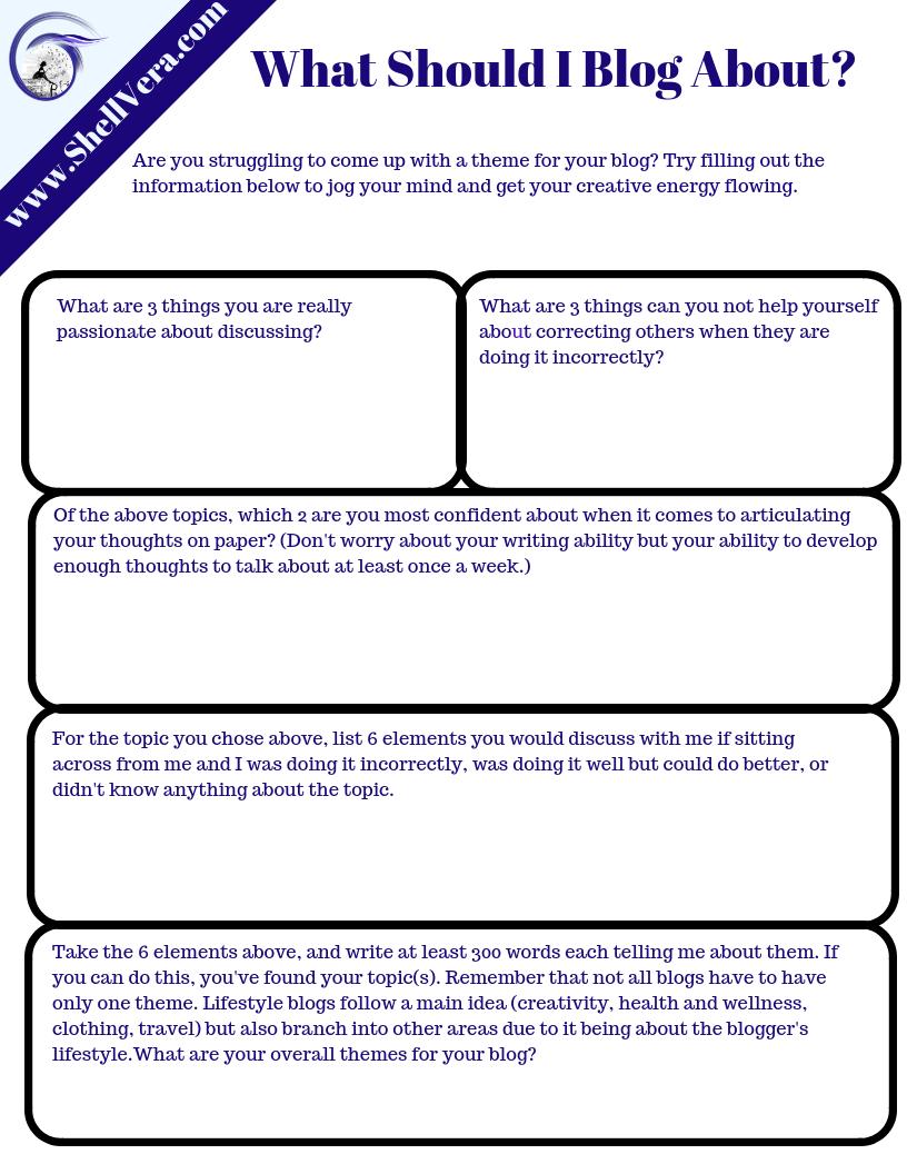 worksheet for blogging
