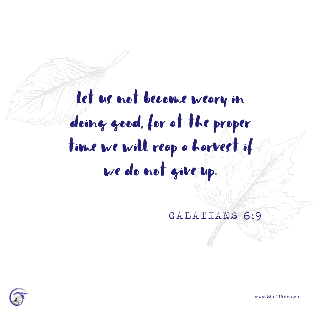 Image with Galatians 6:9 written on it and leaves falling in the background.