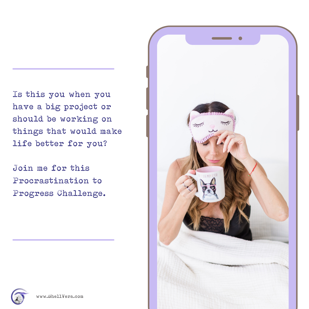 Image of woman in bed with sleep mask and cup of coffee. Is this you when you should be working on things to make your life better? Join me on this challenge if so!